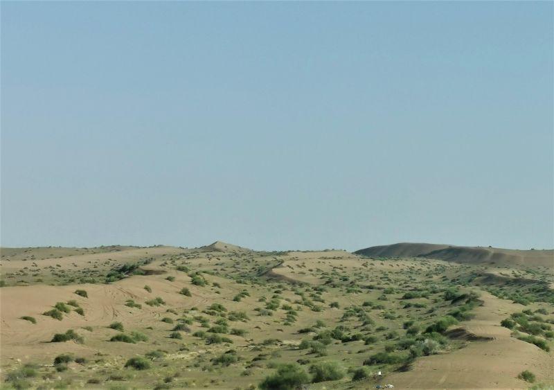 In de woestijn vaart een schip